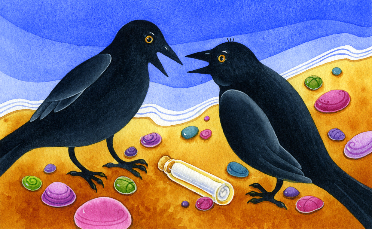 Watercolour illustration showing two blackbirds talking on seashore, colourful stones and small bottle containing message