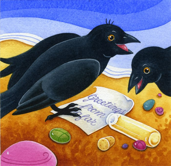 "Watercolour illustration showing two blackbirds on seashore reading message from bottle that says ""Greetings from afar"""