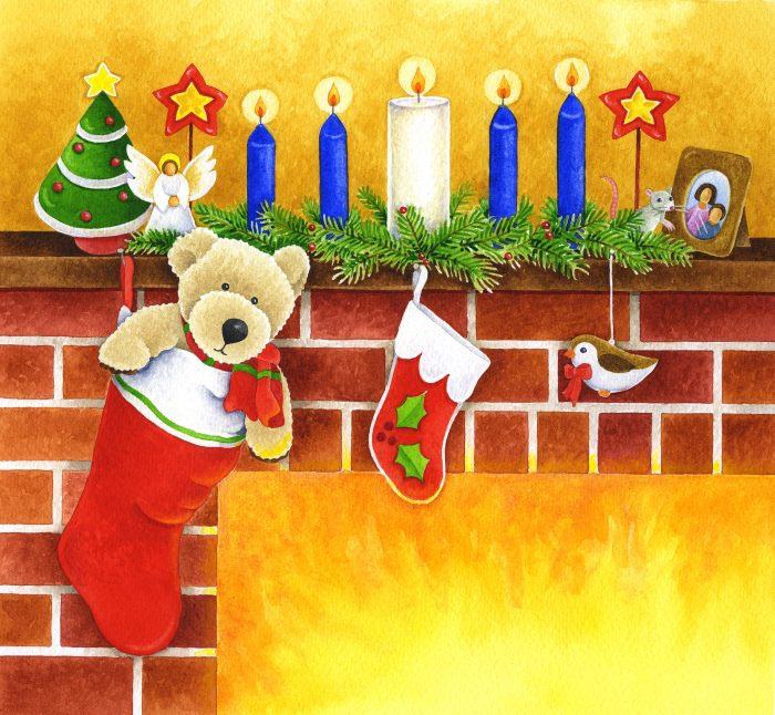 Children's book illustration showing a teddy bear in Christmas stocking hanging on fireplace mantle, Advent candles and mouse