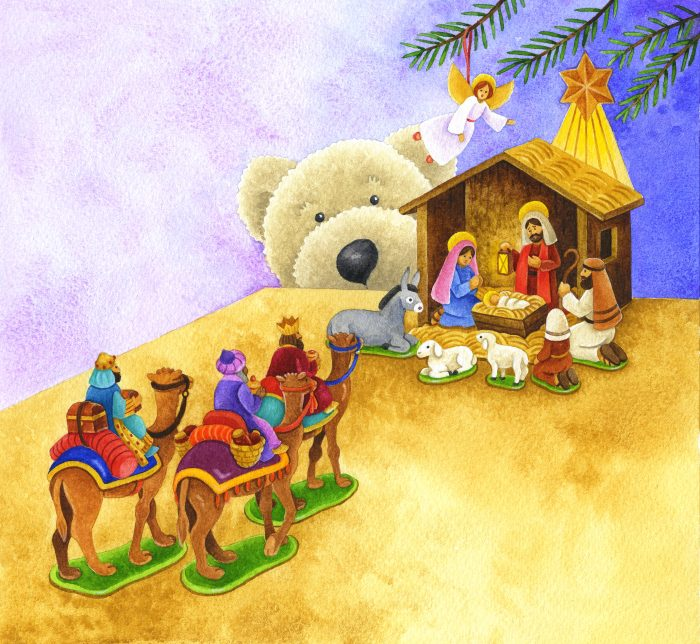 Children's book illustration of a teddy bear peeking over table edge at toy Nativity scene, angel and wise men on camels