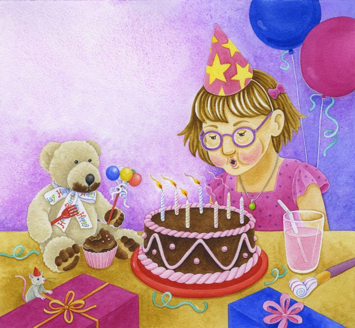 Children's book illustration of a girl wearing birthday hat blowing out candles on cake, a teddy bear, mouse, balloons, gifts