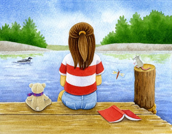 Children's book illustration showing girl, teddy bear, mouse and book sitting on dock looking at water, trees and loon