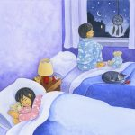 Children's book illustration showing girl sleeping with teddy bear and boy sitting on bed looking out window at night sky