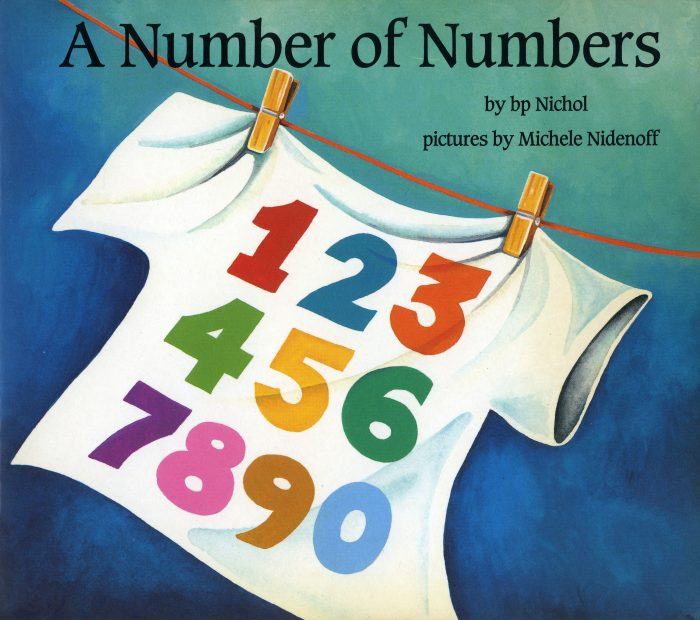 Children's book cover illustration showing a white t-shirt with colourful numbers on it hanging on a clothesline