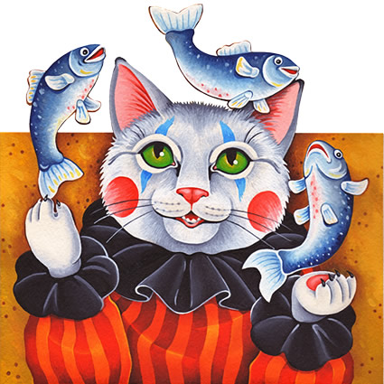 Illustration of a cat dressed as a clown juggling three fish