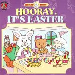 Children's book cover illustration showing a bunny, bear, lamb, fox and chick working on Easter eggs and decorations