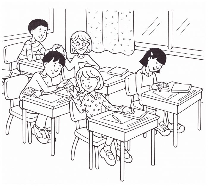 Black and white illustration of children in a classroom passing notes