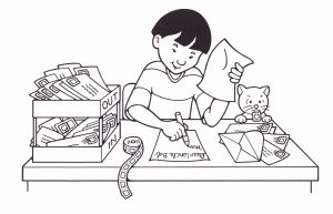 Black and white illustration of a boy sitting at a desk writing letters and a cat with a stamp on its tongue