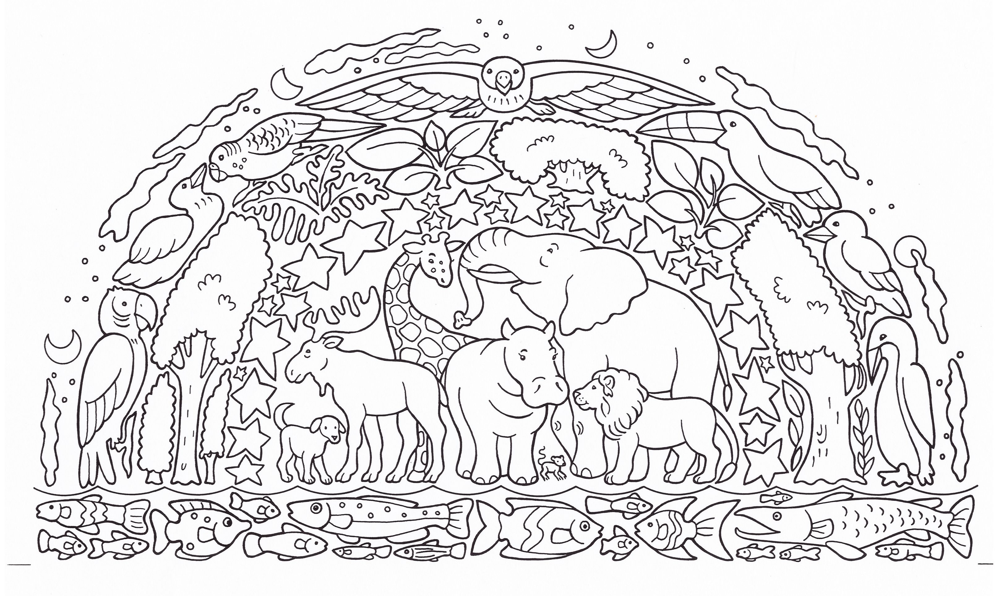 Black and white illustration in a dome with layers of animals, fish, trees and stars