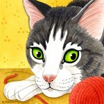 Watercolour portrait of grey striped cat, paw and red ball of wool.