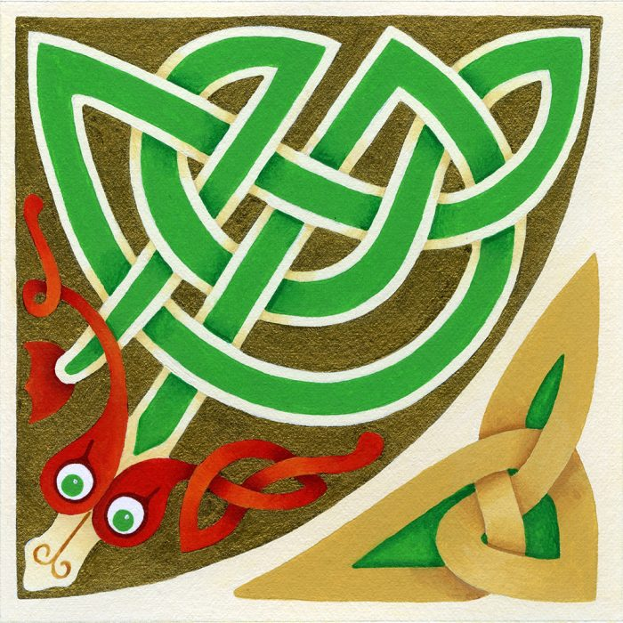 Celtic knotwork serpent with red ears and a green body in acrylic paint.
