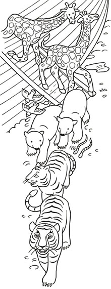 Black and white illustration of happy animals exiting the Ark