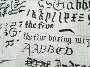 Gothic calligraphy on graph paper