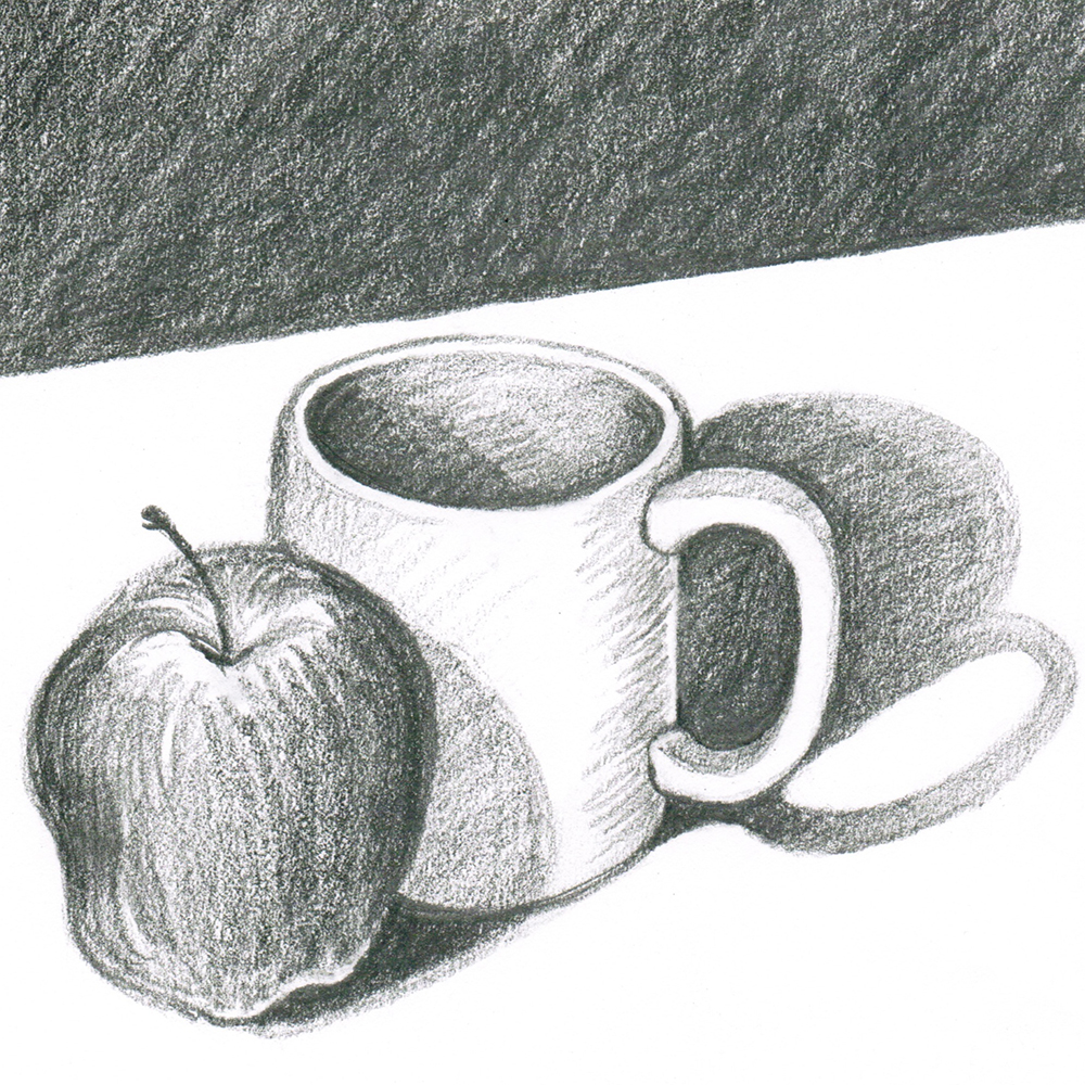 Drawing of a mug and an apple done in pencil