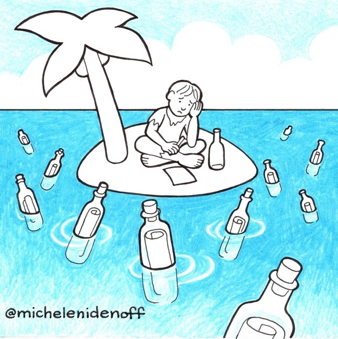 Black and white illustration with blue coloured pencil of a man sitting on a small island with palm tree surrounded by messages in bottles