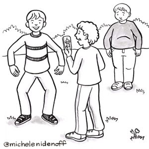 Black and white illustration of two boys making fun of an overweight boy