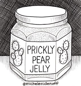 Black and white illustration of a jar of Prickly Pear jam