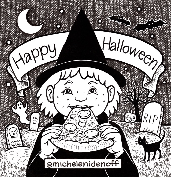 "Black and white illustration of a girl dressed as a with eating a pizza slice in a graveyard with banner saying ""Happy Halloween"""