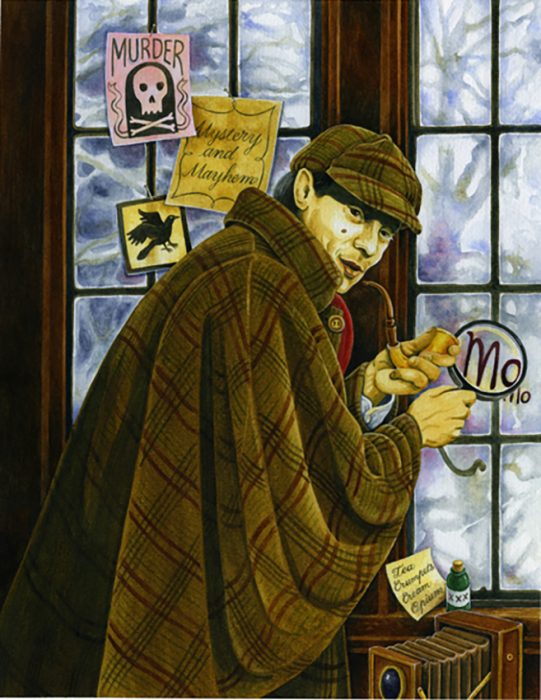 Watercolour illustration of photographer Joseph Amaral dressed as Sherlock Holmes - Entry for 2014 CAPIC Double Vision