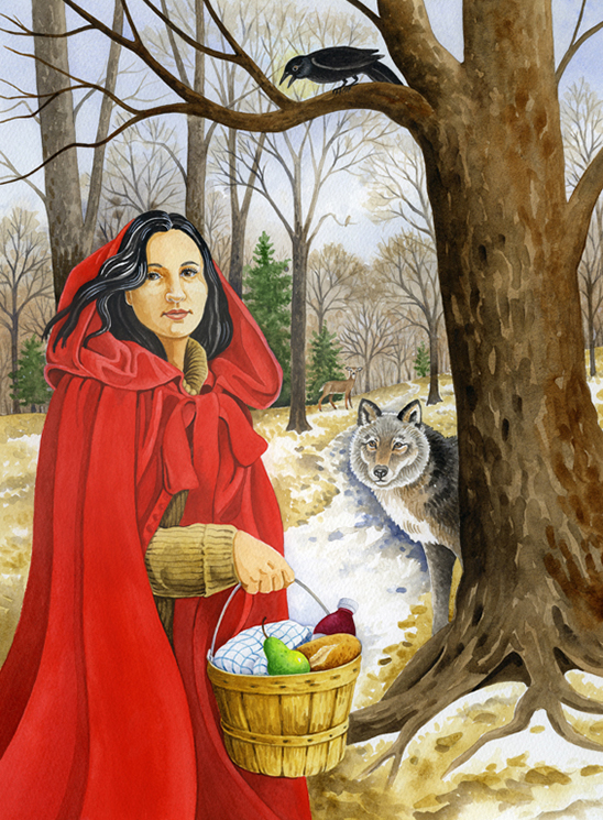 A painting featuring red riding hood and a wolf.